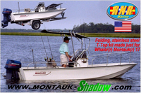Montauk-Shadow™Montauk-Shadow(tm)  patent-pending, stainless steel, folding T-Top Kit for Boston Whaler(r)  Montauk(r) , Outrage(r)  and Dauntless(r) boats