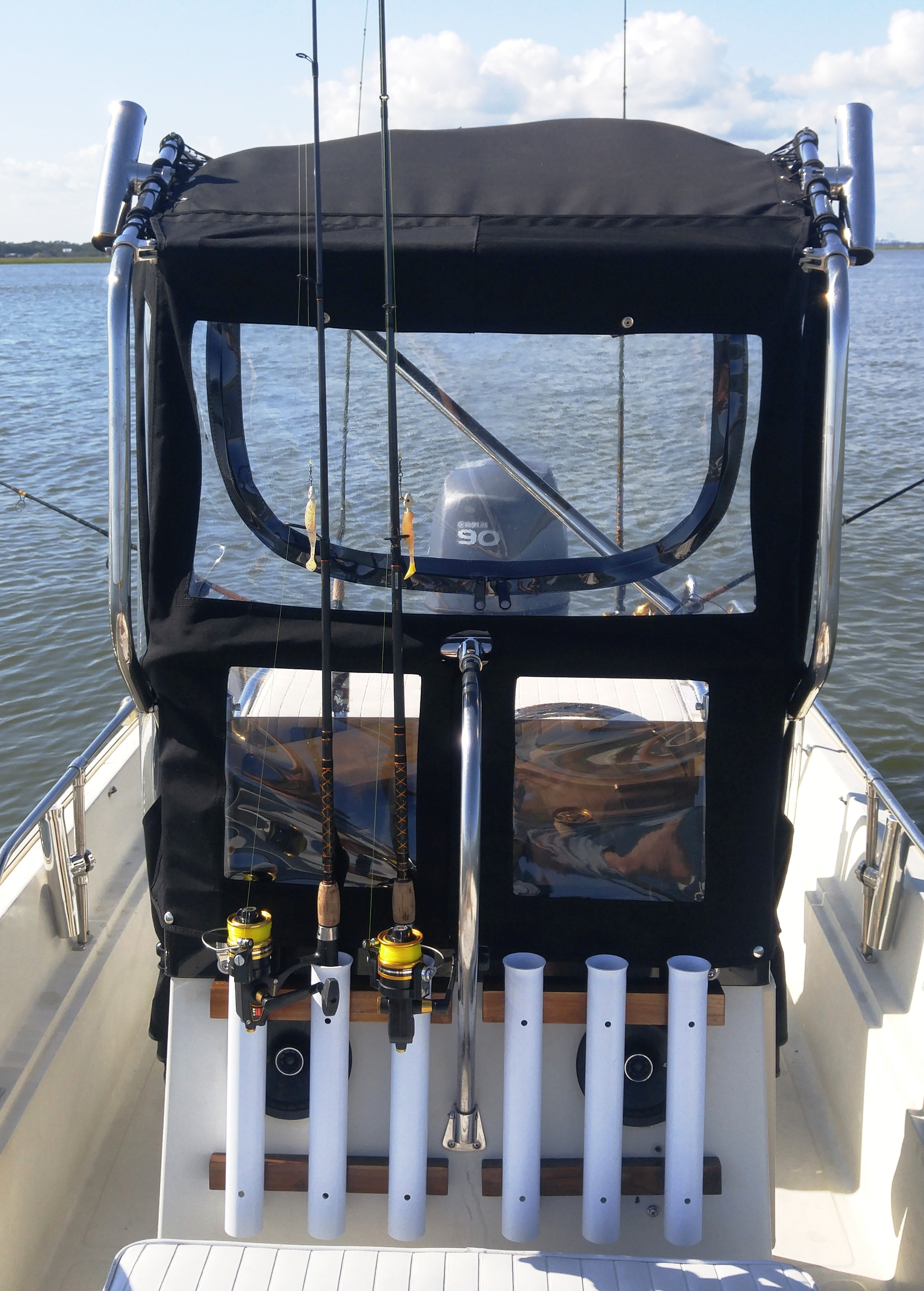 Montauk T Topless 2 Spray Shield Out fishing on the ICW