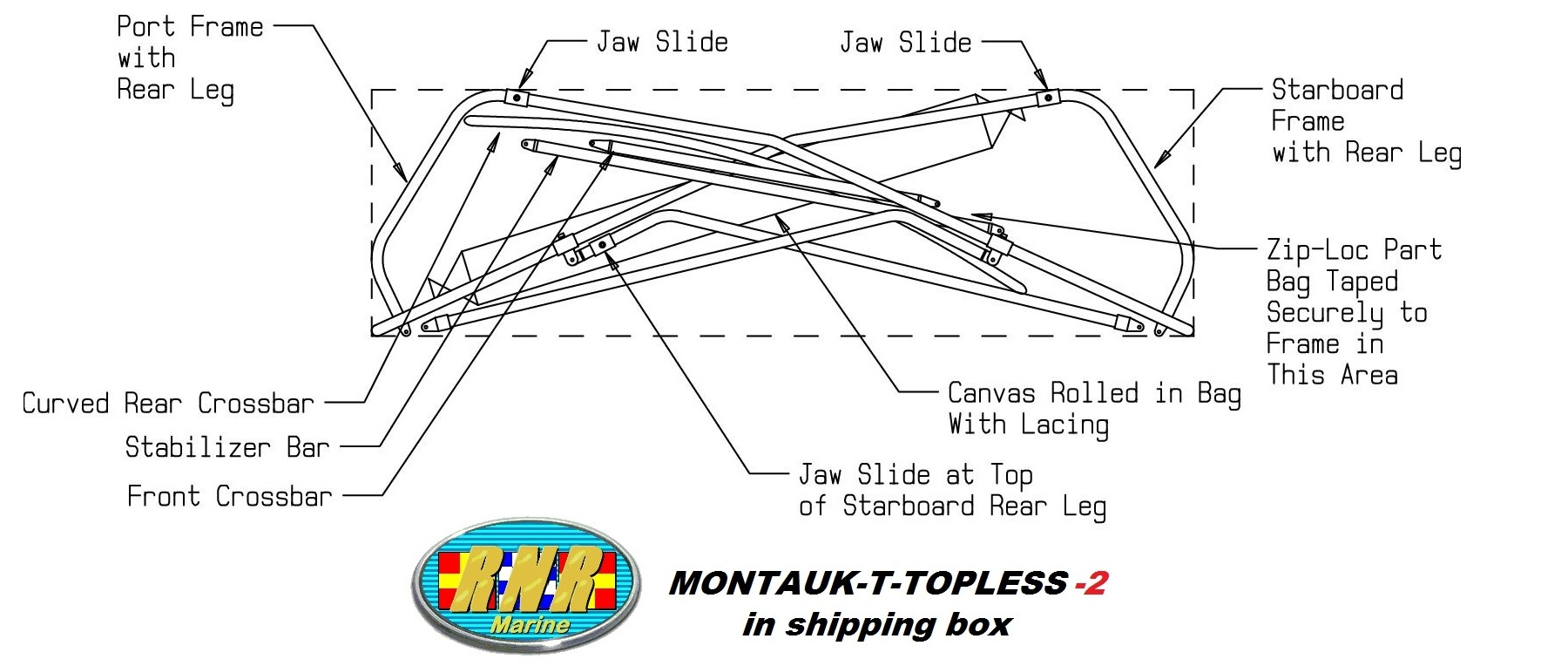 Montauk T Topless (MT2) In Shipping Box Drawing
