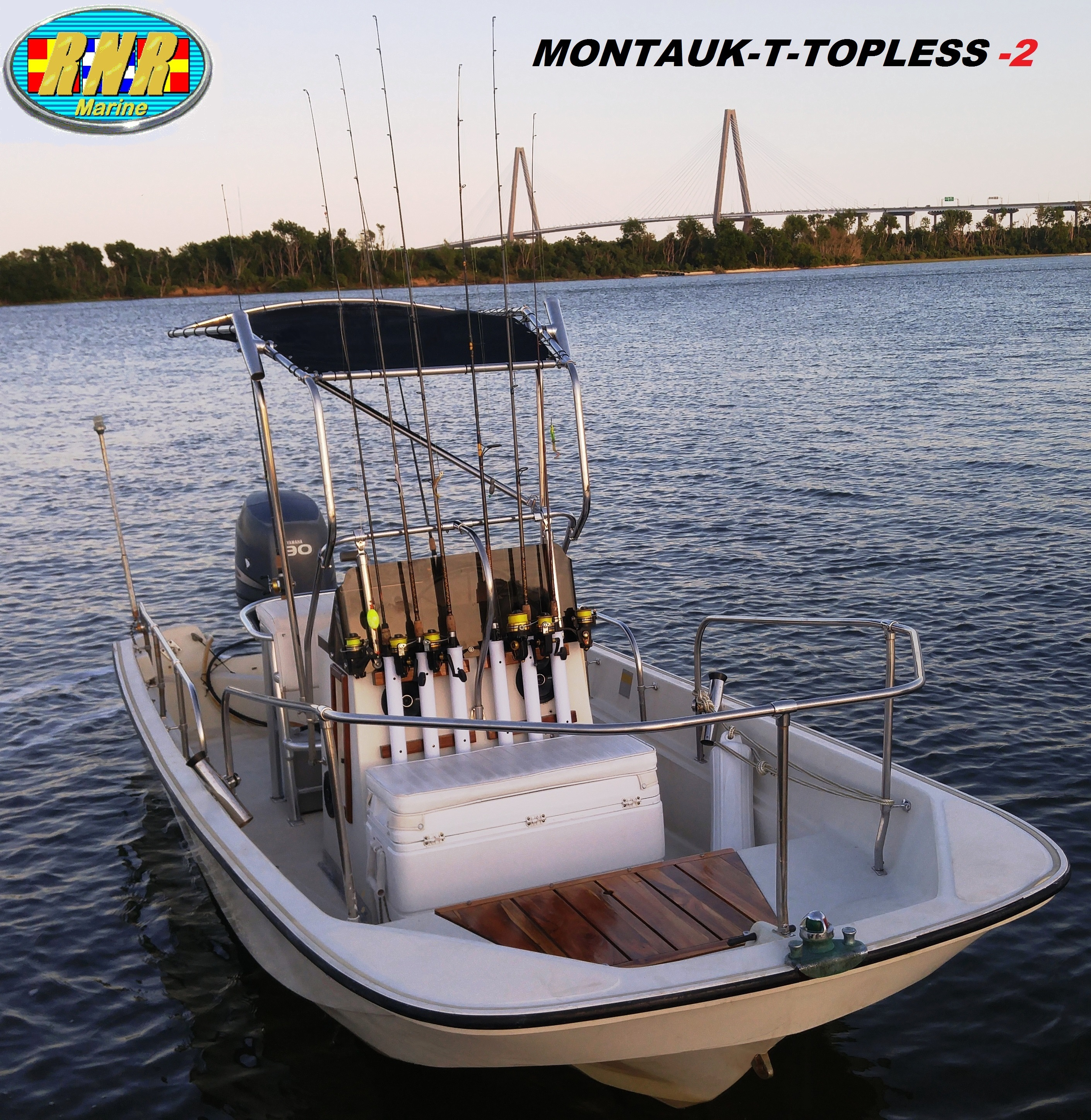 Montauk T Topless (MT2) on the water Cooper River Bridge, starboard front