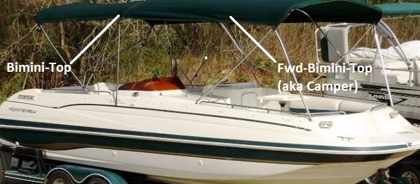 Fwd Bimini Top Canvas and Frame (Factory OEM) for Sea Ray® 270