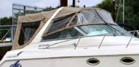 Photo of Monterey 322 Cruiser, 1999: Bimini Top, Connector, Side Curtains, Sunshade Top, Camper Top, Camper Side Curtains, viewed from Starboard Front