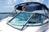 Photo of Monterey 322 Cruiser, 2003: Bimini-Top Connector zipped open Side-Curtains, Arch-Aft-Top, Camper Top, viewed from Port, Front