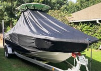 TTopCover™ NauticStar, 231 Hybrid, 20xx, T-Top Boat Cover, Trolling Motor Pocket, stbd front