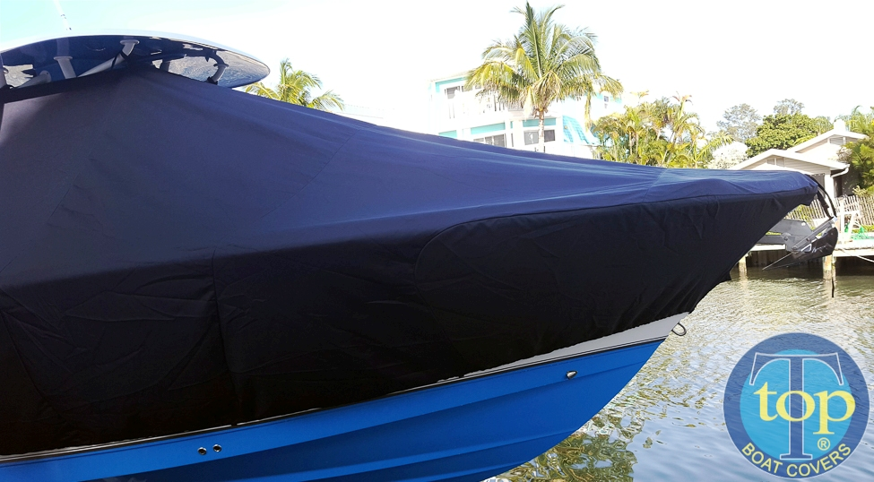 NauticStar 28XS, 20xx, TTopCovers™ T-Top boat cover bow, starboard side
