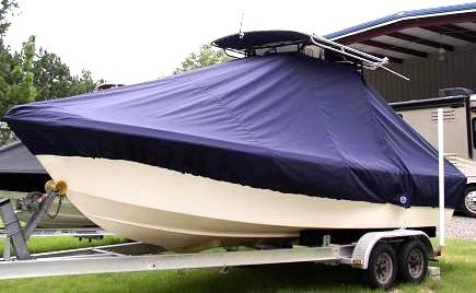 Parker 2300CC, 20xx, TTopCovers™ T-Top boat cover, port front