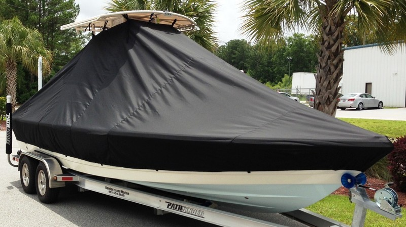 Pathfinder 2400 TRS, 20xx, TTopCovers™ T-Top boat cover outside, starboard front