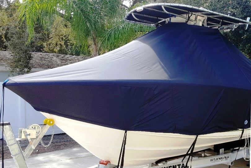 Pioneer Bulls Bay 230CC, 20xx, TTopCovers™ T-Top boat cover, port front