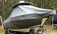 Photo of Pursuit 2470 20xx T-Top Boat-Cover, viewed from Starboard Front