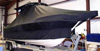 Photo of Pursuit 2570 20xx T-Top Boat-Cover, viewed from Starboard Front
