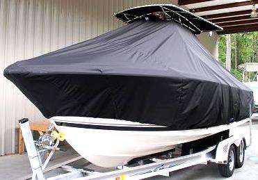Pursuit C 230, 20xx, TTopCovers™ T-Top boat cover, port front