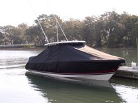 TTopCover™ Pursuit, ST 310 Sport, 20xx, T-Top Boat Cover, in Water, stbd front