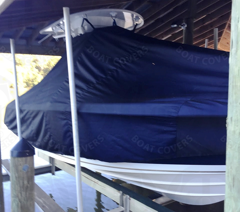 Pursuitt C 238, 20xx, TTopCovers™ T-Top boat cover On Lift, starboard front