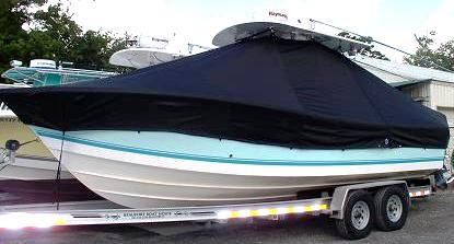 Regulator 26FS, 20xx, TTopCovers™ T-Top boat cover, port front