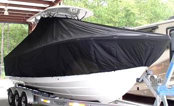 Regulator 28FS, 20xx, TTopCovers™ T-Top boat cover, starboard front