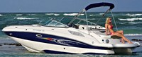 Photo of Rinker 248 Flotilla, 2011: Bimini Top in Boot (Factory OEM website photo), viewed from Port Rear