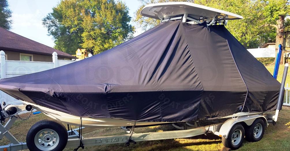 Robalo 226 Cayman, 20xx, TTopCovers™ T-Top boat cover, port front