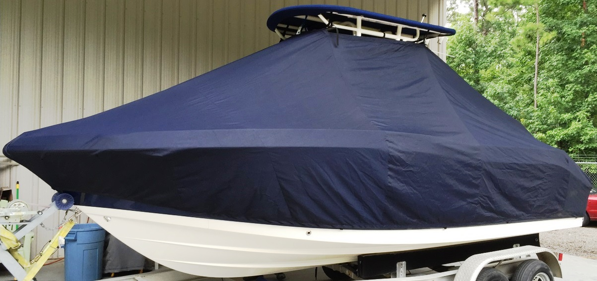 Robalo R202 Explorer, 20xx, TTopCovers™ T-Top boat cover, port front