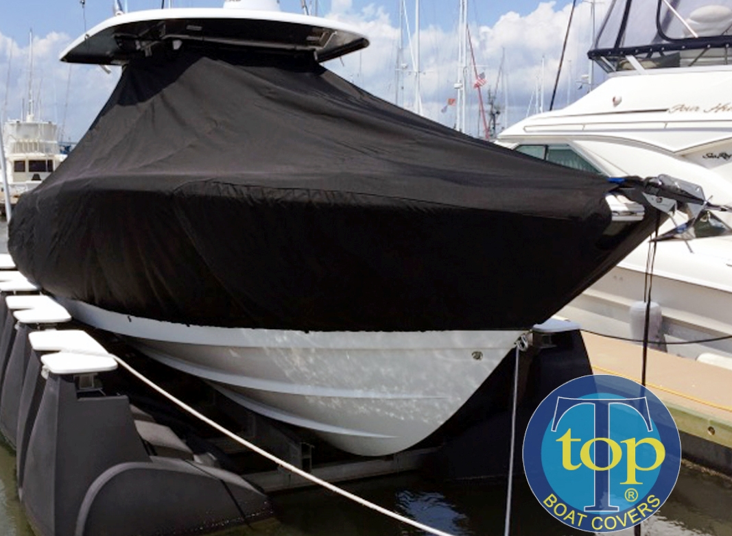 Robalo R302, 20xx, TTopCovers™ T-Top boat cover, starboard front