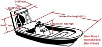 Flats-Boat-and-Poling-Platform-Cover-Round-Bow-81616NA™Carver p/n 81616NA Cover for Blunt Nose / Rounded Bow Flats-Boat with Poling Platform with CENTERLINE LENGTH = 16-ft,6-in , BEAM = 80 inches wide, Max. Console-Height of 37 inches above Floor and Poling-Platform up to 45-in High x 41-in Wide x 39-in Deep