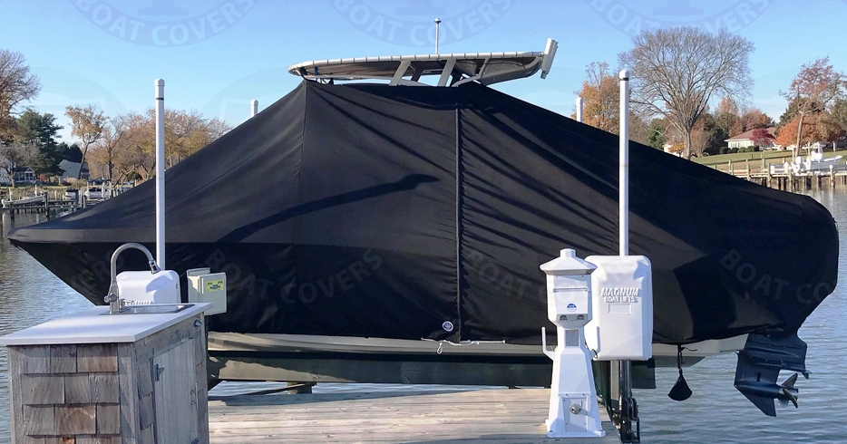 Scout 215XSF, 20xx, TTopCovers™ T-Top boat cover On Lift, port side