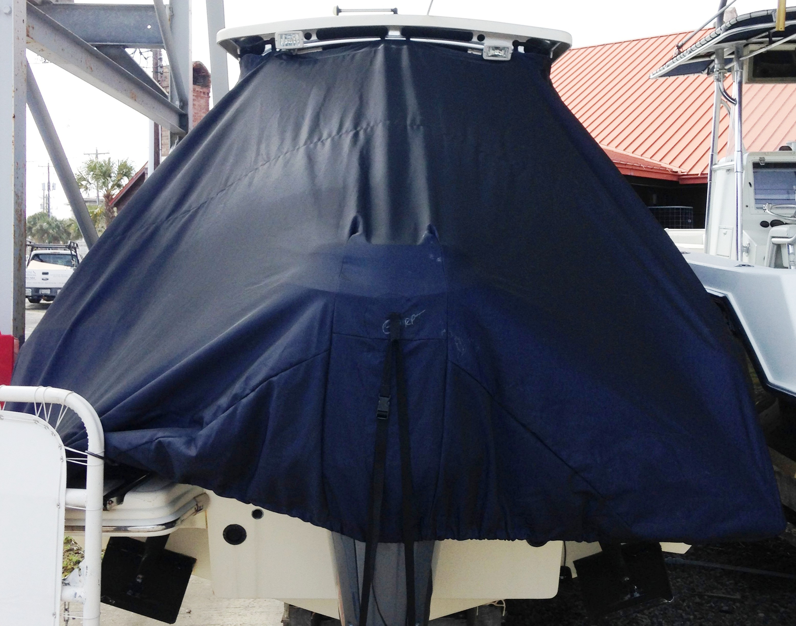 Scout 242 Abaco, 20xx, TTopCovers™ T-Top boat cover rear