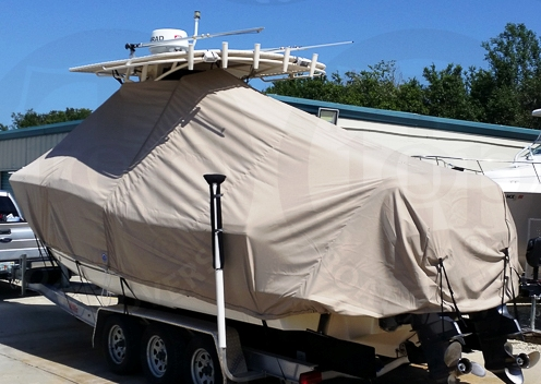 Scout 280 Sportfish, 20xx, TTopCovers™ T-Top boat cover Tan, port rear