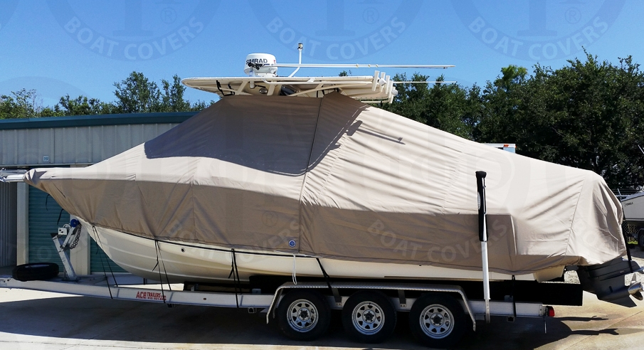 Scout 280 Sportfish, 20xx, TTopCovers™ T-Top boat cover Tan, port side