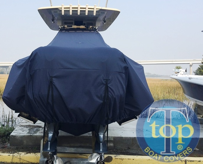 Scout 320 LXF, 20xx, TTopCovers™ T-Top boat cover rear