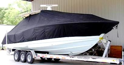 Scout 345 Sportfish, 20xx, TTopCovers™ T-Top boat cover, starboard front