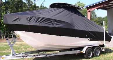 Sea Fox 236CC, 20xx High Bow Rail, TTopCovers™ T-Top boat cover, port front