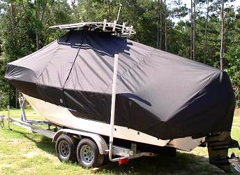 Sea Fox 236CC, 20xx High Bow Rail, TTopCovers™ T-Top boat cover, port rear