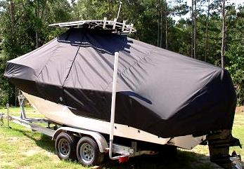 Sea Fox 236CC, 20xx, TTopCovers™ T-Top boat cover High Bow Rail, port rear
