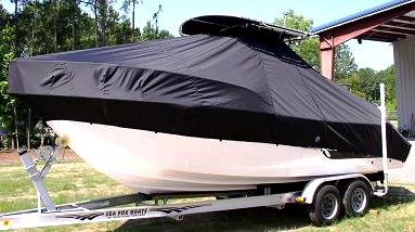 Sea Fox 236CC, 20xx, TTopCovers™ T-Top boat cover High Bow Rail, port side