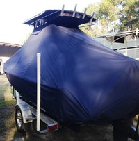 Photo of Sea Hunt® BX20BR 20xx T-Top Boat-Cover with Power Pole, viewed from Port Rear