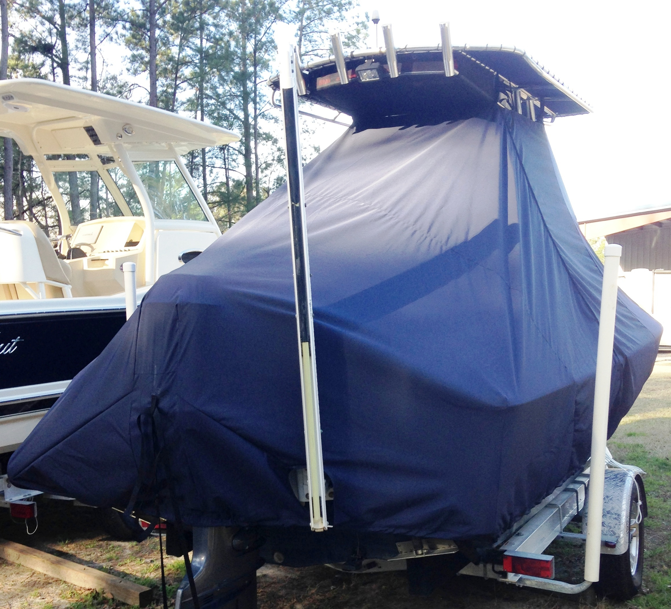 Sea Hunt BX20BR, 20xx, TTopCovers™ T-Top boat cover with Power Pole, starboard rear