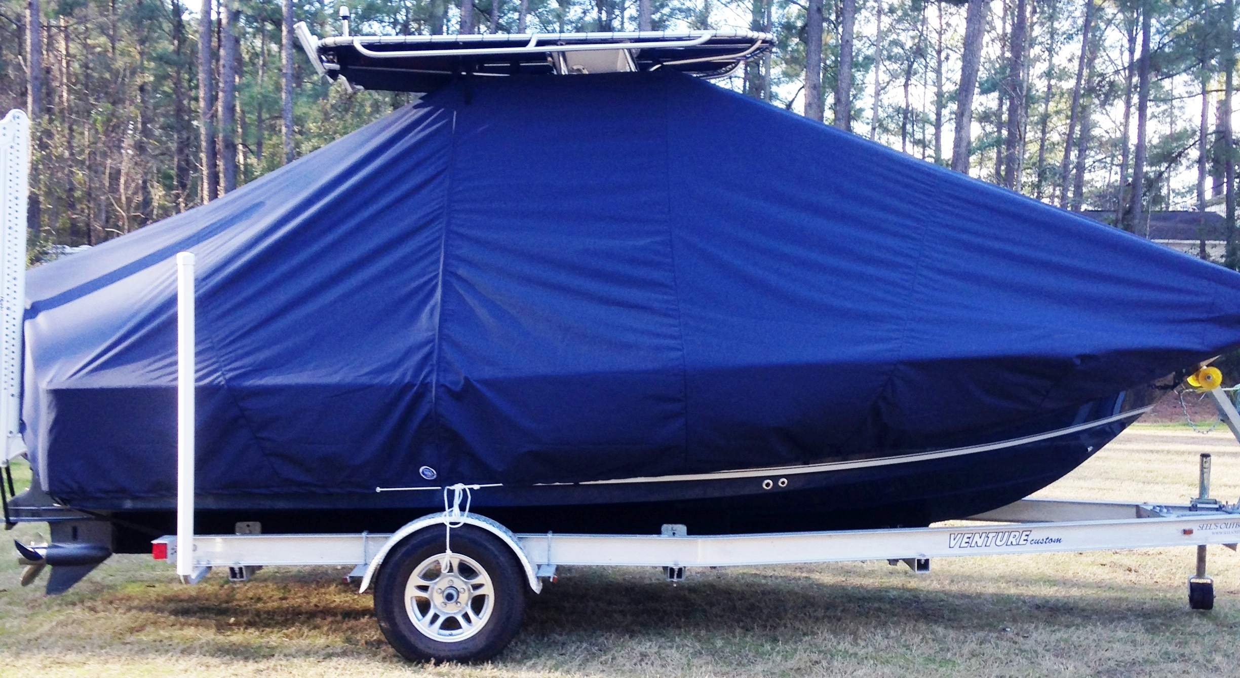 Sea Hunt BX20BR, 20xx, TTopCovers™ T-Top boat cover with Power Pole, starboard side
