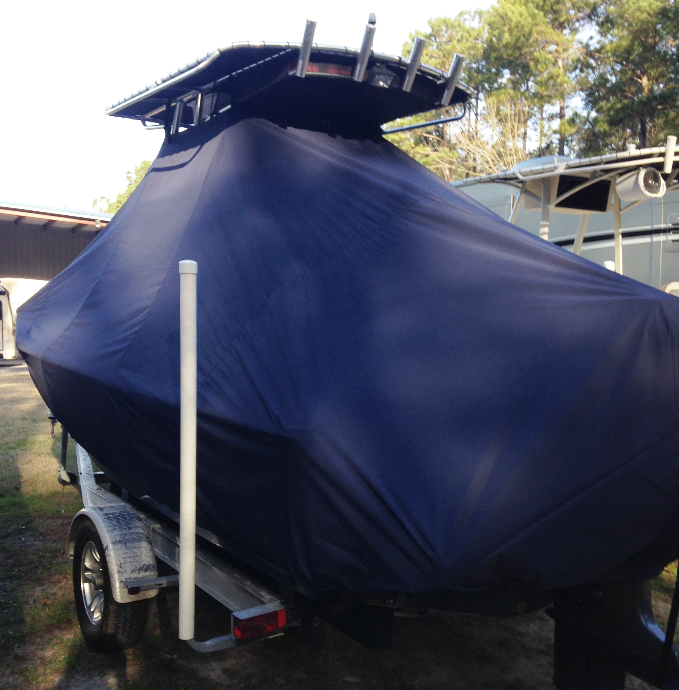 Sea Hunt BX20, 20xx, TTopCovers™ T-Top boat cover with Power Pole, port rear