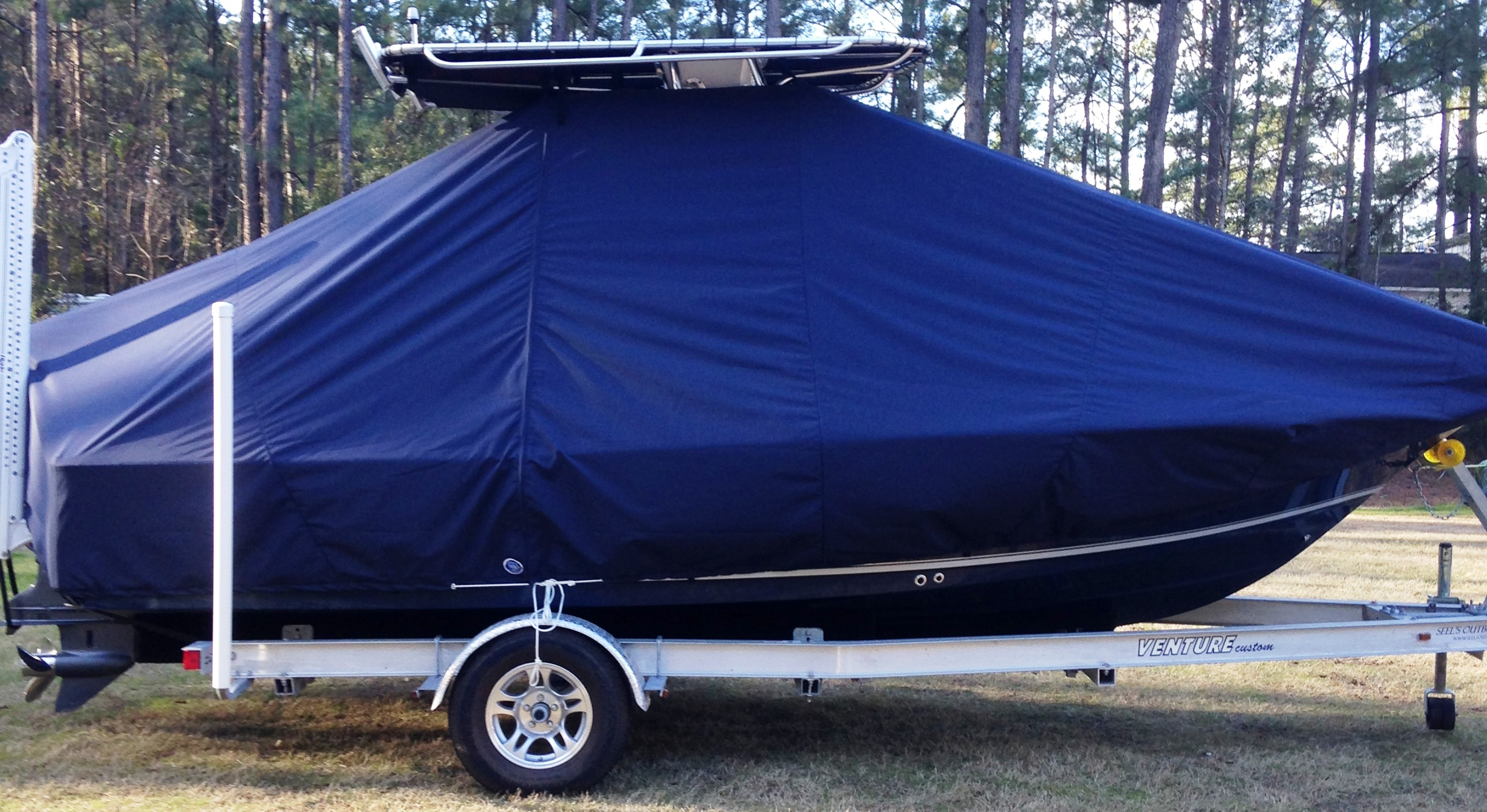 Sea Hunt BX20, 20xx, TTopCovers™ T-Top boat cover with Power Pole, starboard side