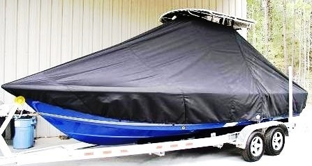 Sea Hunt BX22, 20xx, TTopCovers™ T-Top boat cover all Blue Hull, port front