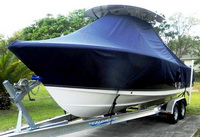 T-Top-Boat-Cover-Elite™TTopCovers(tm) T-Top or Hard-Top Boat-Cover (Elite 9oz./sq.yd. fabric) attaches beneath T-Top or Hard-Top frame to cover entire boat, bow, helm, cockpit and motor(s). Custom patterned for tight fit