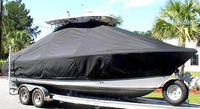 Photo of Sea Hunt® Gamefish-25 20xx T-Top Boat-Cover, viewed from Starboard Front