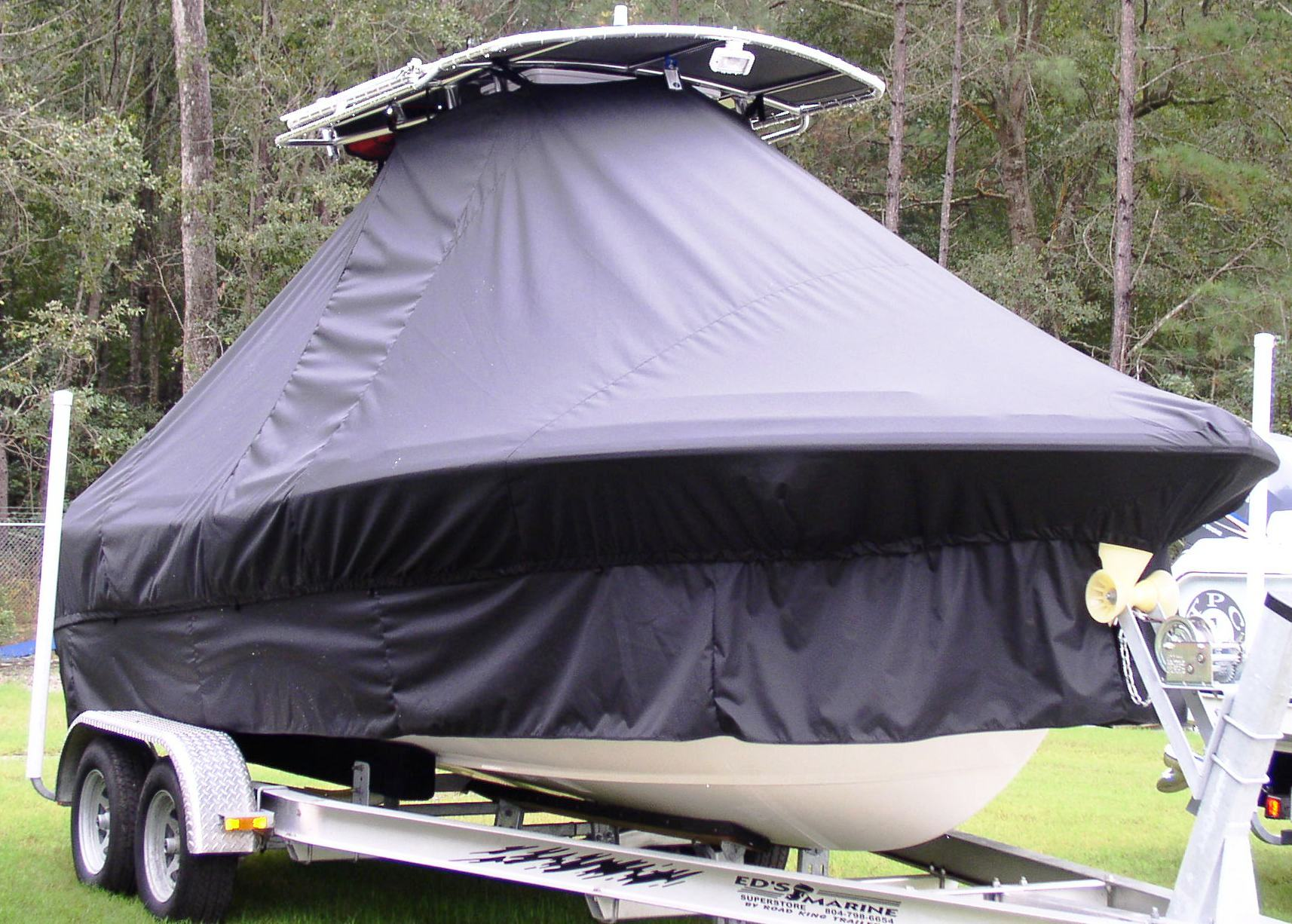 Sea Hunt Triton 207, 20xx, TTopCovers™ T-Top boat cover with Extended Skirts, starboard front