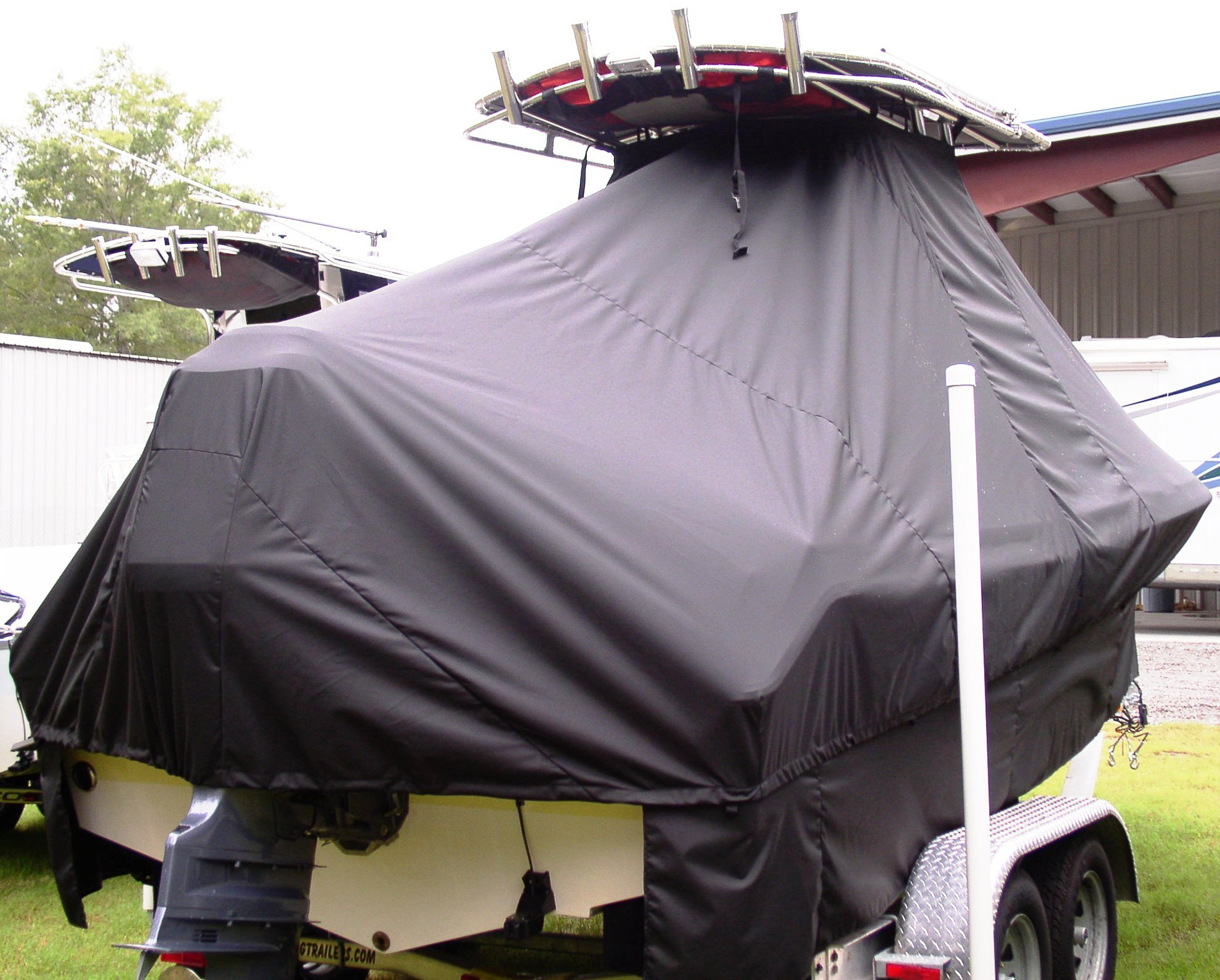 Sea Hunt Triton 207, 20xx, TTopCovers™ T-Top boat cover with Extended Skirts, starboard rear