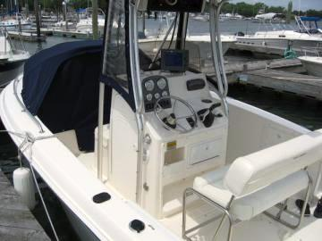 2006 Sea Hunt Triton 220 Factory T Top Spray Shield And Bow Dodger With Optional Aft Curtain