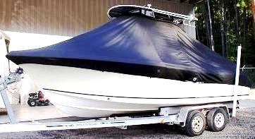 Sea Hunt Triton 220, 20xx, TTopCovers™ T-Top boat cover, port front
