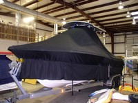 Photo of Sea Hunt® Triton-232 20xx T-Top Boat-Cover Extended Skirts, viewed from Port Front