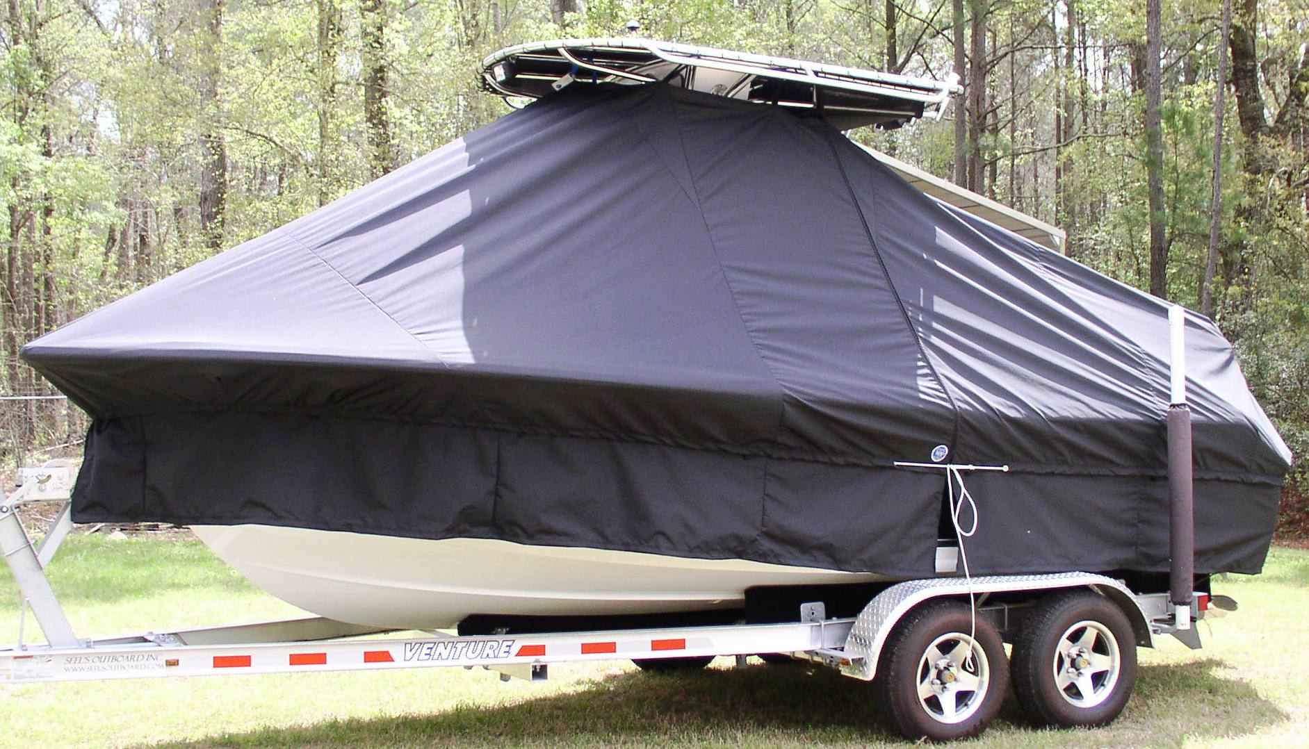 Sea Hunt Ultra 196, 20xx, TTopCovers™ T-Top boat cover with Extedned Skirts (No Longer Required), port side