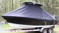 Photo of Sea Hunt® Ultra-196 20xx T-Top Boat-Cover, viewed from Port Front