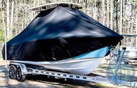 Photo of Sea Hunt® Ultra-234 20xx T-Top Boat-Cover, viewed from Starboard Front